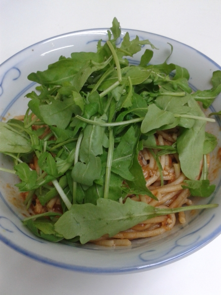 Eggplant Pasta with Rocket Leaves